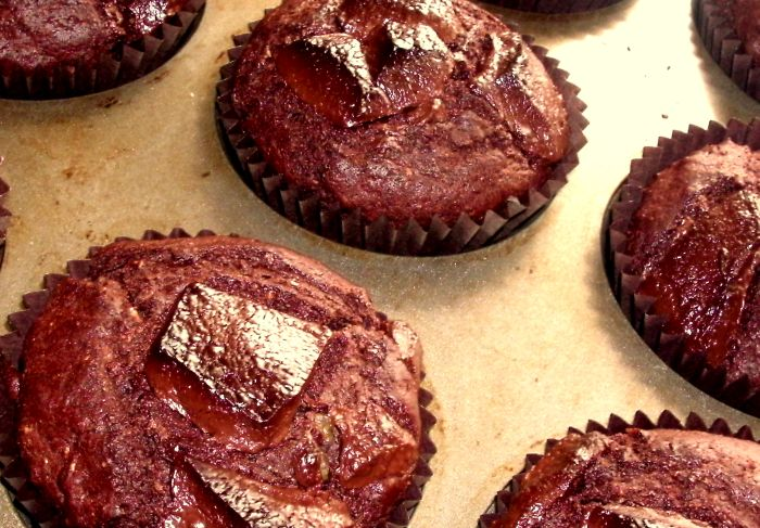 Chocolate heart muffins baked