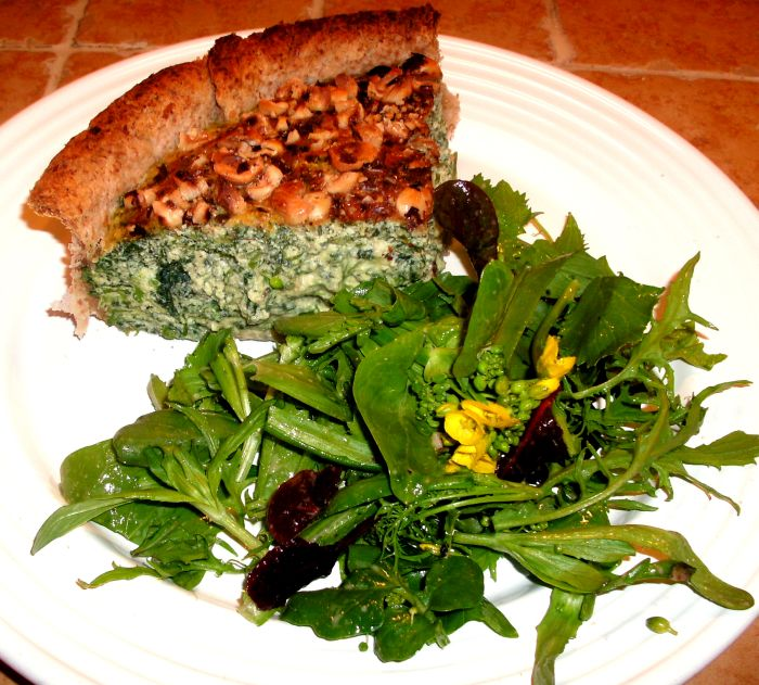 Nettle hazelnut tart plated with salad