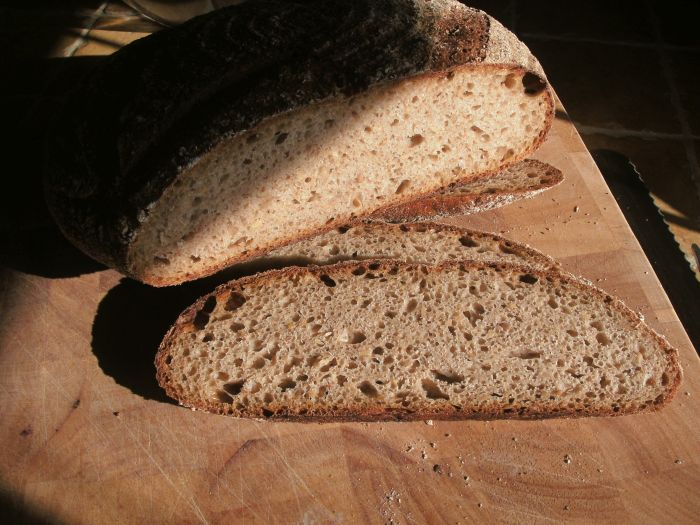 Rye and linseed sourdough crumb and crust