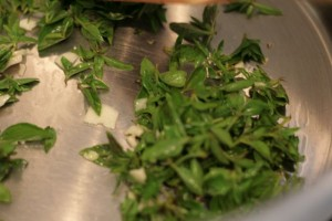 Frying oregano