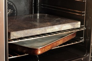 Granite baking stone and water tray