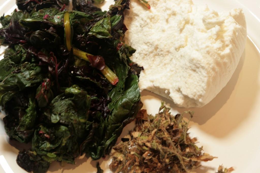 Brocciu, mentuccia, cooked chard
