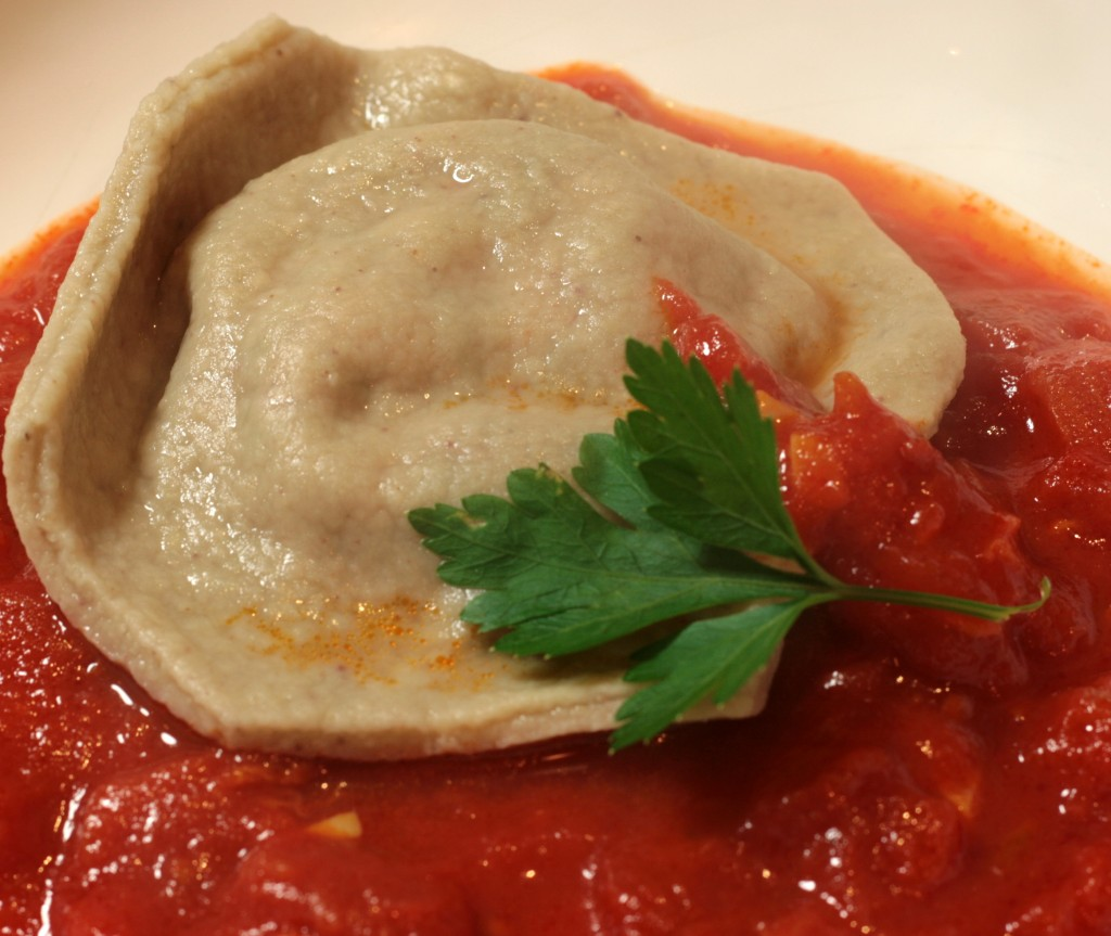 Chestnut ravioli with brocciu in tomato sauce