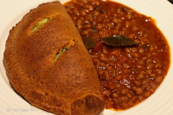 Pasty served with home-made canned baked beans
