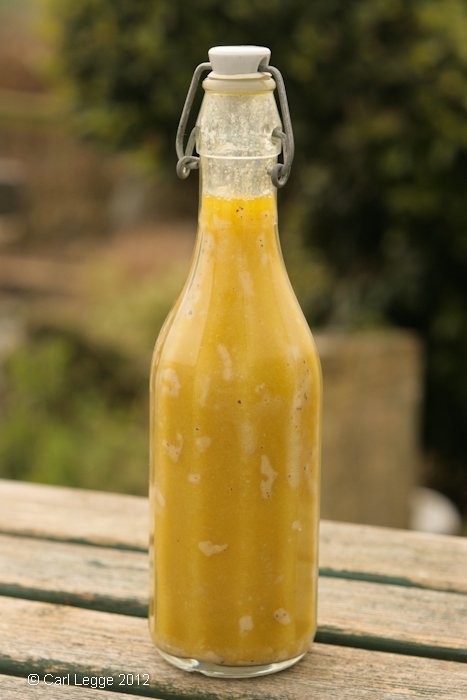 Vinaigrette salad dressing, shaken to emulsify the ingredients