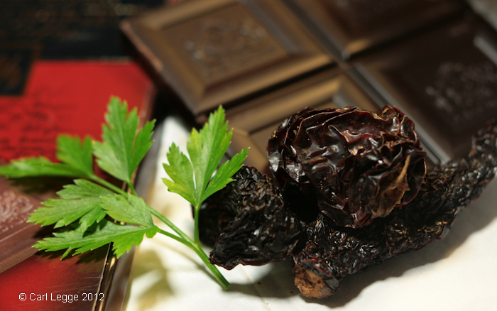 Chipotle chillies and 81% plain chocolate