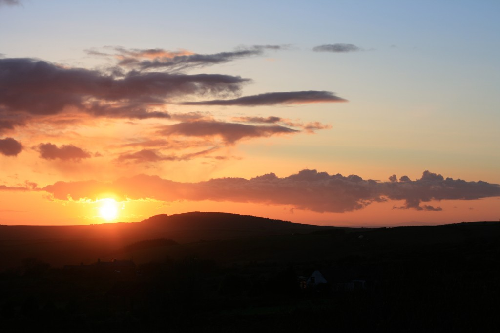 Llŷn Sunset with the Wicklow Mountains