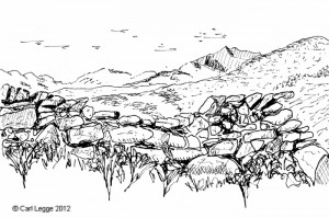 Line drawing of Eryri from the Rhinogs