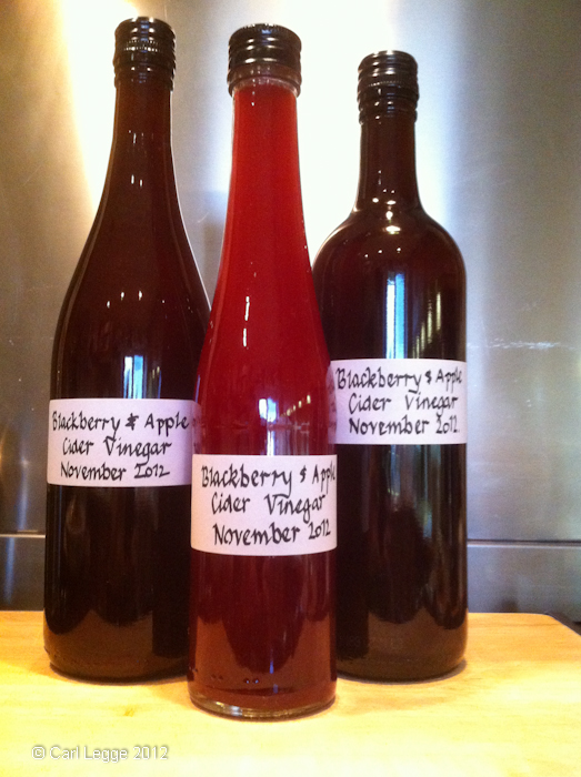 Home fermented blackberry and apple vinegar