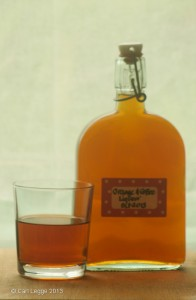 Orange & coffee liqueur: bottle & glass