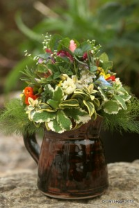 Posy in pottery jug