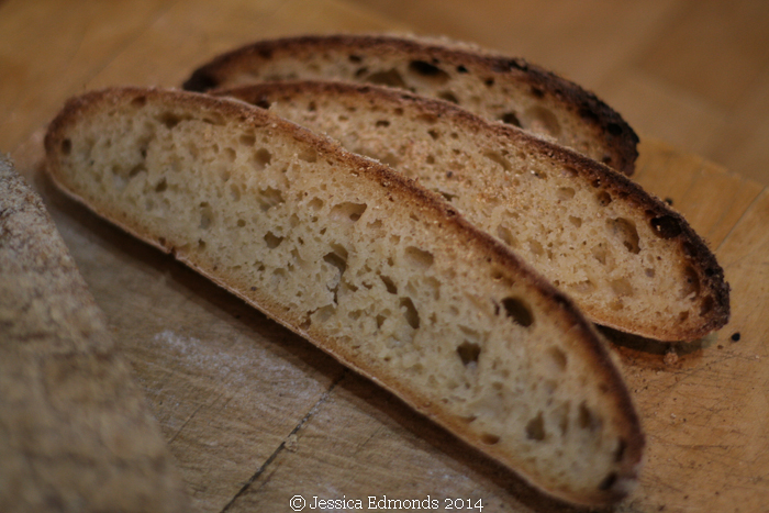 Wine barm bread sliced